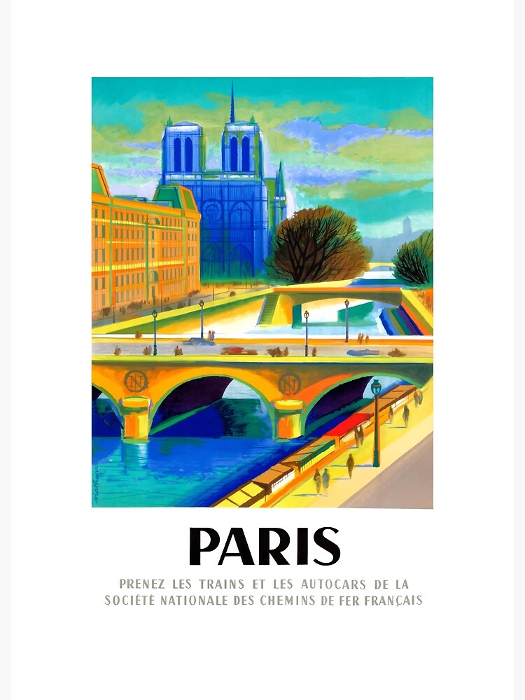 1957 Paris Notre Dame Cathedral French Travel Poster by retrographics
