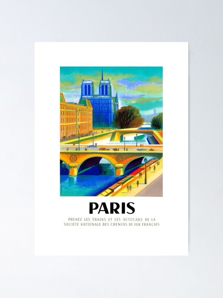 Alternate view of 1957 Paris Notre Dame Cathedral French Travel Poster Poster