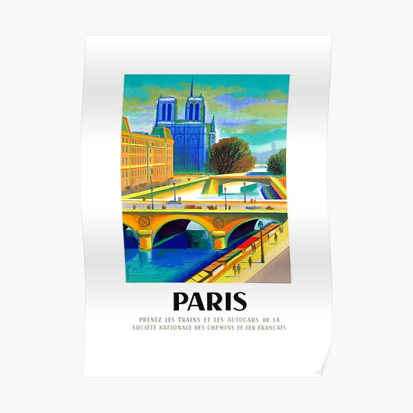 1957 Paris Notre Dame Cathedral French Travel Poster Poster