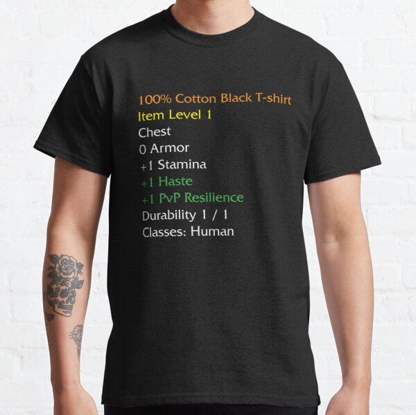 WoW Funny T-Shirt Artikel Statistik Beschreibung Schwarzes Shirt Meme Classic T-Shirt