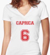 Caprica 6 Women's Fitted V-Neck T-Shirt