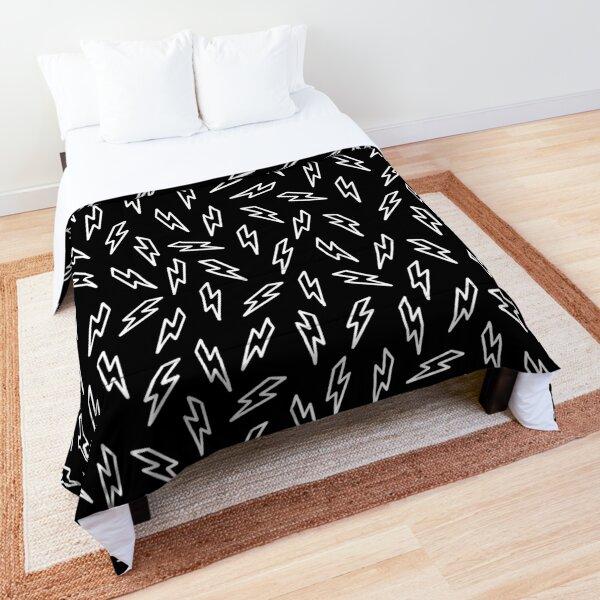 Black and white gender neutral geometric thunderbolt Comforter