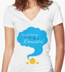 Bit of a Domestic Women's Fitted V-Neck T-Shirt
