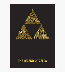 Legend of Zelda Typography Photographic Print