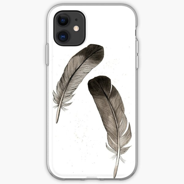 Black feathers iPhone Soft Case