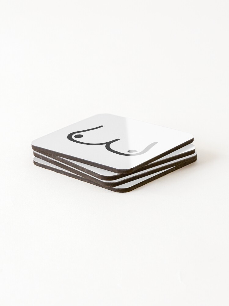 Alternate view of Boobs breasts free the nipple sticker Coasters (Set of 4)