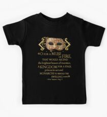 Shakespeare Henry V Muse Quote Kids Tee