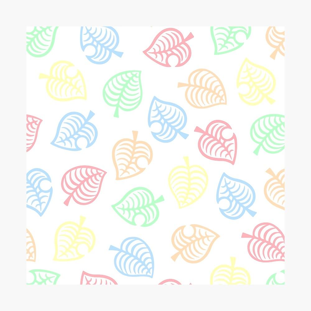 Nook Rainbow Pastel Leaf Pattern Animal Crossing New Horizons Poster By Panda Monium Redbubble
