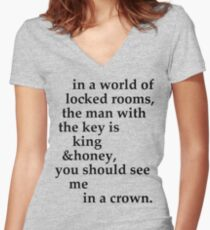 the man with the key Women's Fitted V-Neck T-Shirt