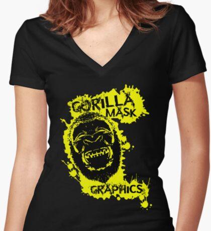 Gorilla Mask Graphics logo  Women's Fitted V-Neck T-Shirt