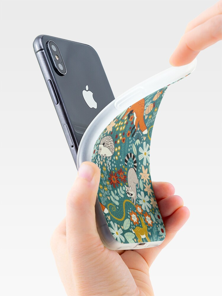 Vista alternativa de Funda y vinilo para iPhone Patrón de bosque texturizado
