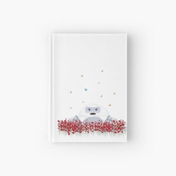 Spring Design - Kawaii Little Yeti in flower field blossom & colorful butterflies Hardcover Journal