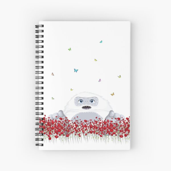Spring Design - Kawaii Little Yeti in flower field blossom & colorful butterflies Spiral Notebook