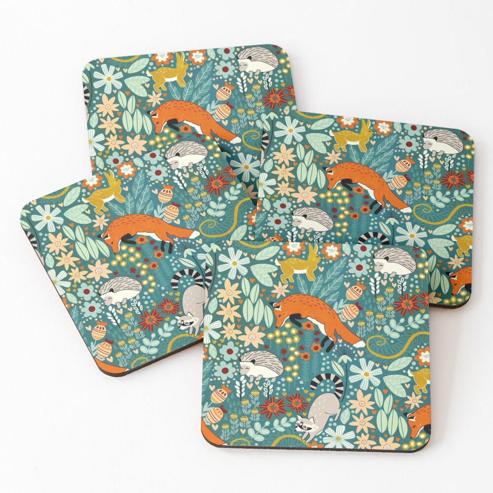 Textured Woodland Pattern  Coasters (Set of 4)