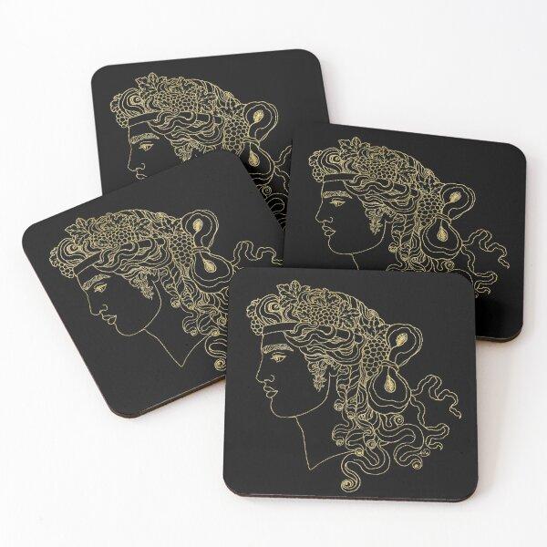 Dionysos (black & gold) Coasters (Set of 4)