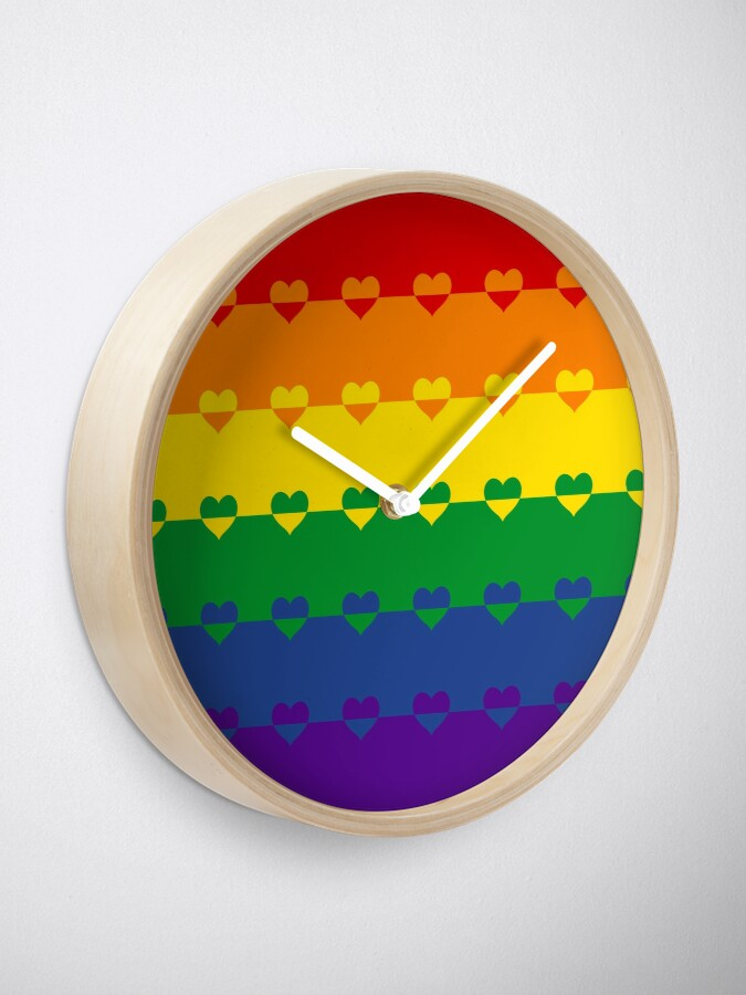 Alternate view of LGBTQ Flag with Hearts v1 - Gay  / LGBTQ+ Clock