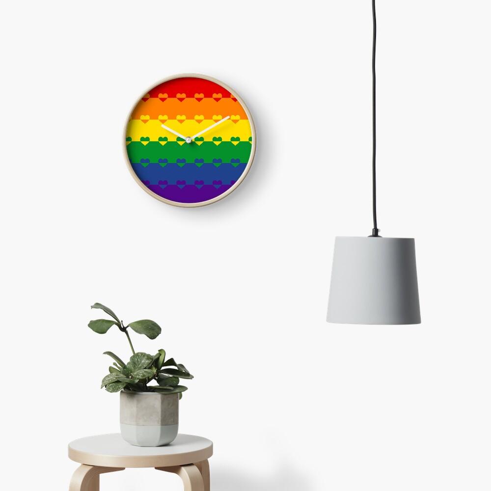 LGBTQ Flag with Hearts v1 - Gay  / LGBTQ+ Clock