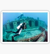 Divers at a shipwreck at Ras Mohammed National Park Sticker