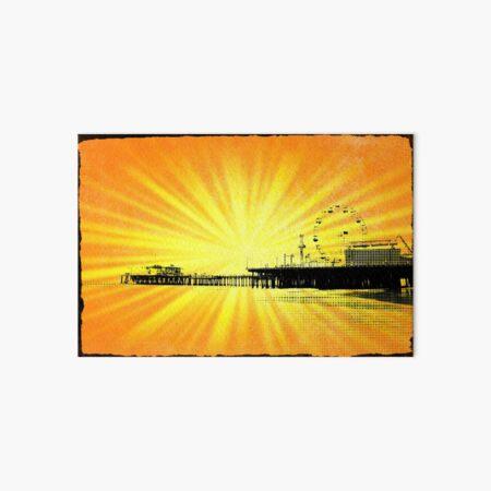 Santa Monica Pier Yellow Sunburst Art Board Print