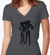 You cant see their faces Women's Fitted V-Neck T-Shirt