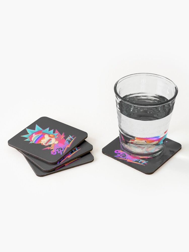 Alternate view of  get schwifty Rick and Morty retro Coasters (Set of 4)