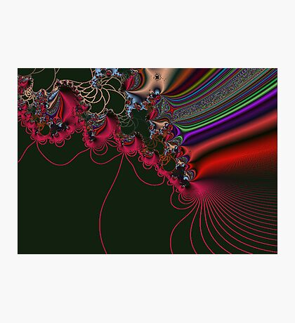Red Lace on Black Fractal Photographic Print