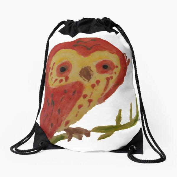 Kooky Heart Owl on a Branch Drawstring Bag