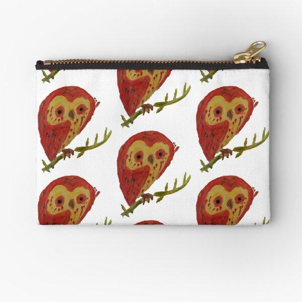 Kooky Heart Owl on a Branch Zipper Pouch