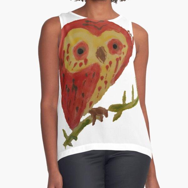 Kooky Heart Owl on a Branch Sleeveless Top