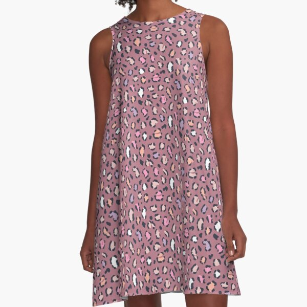Dusky Rose Leopard Print A-Line Dress