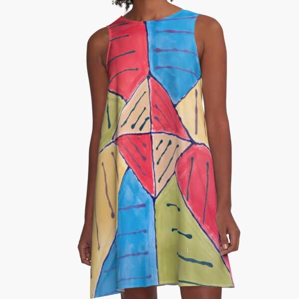 Diamond Rainbow Square Geometric Print A-Line Dress