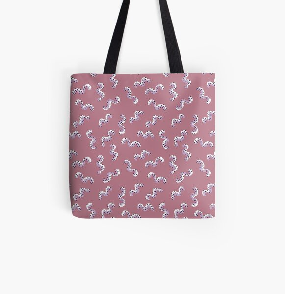 Lilac and Dusty Rose Squiggle All Over Print Tote Bag