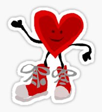 Funny Cool Heart Character with Red Sneakers Sticker