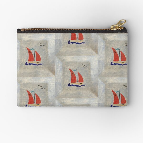 Red Sails on a Little Racing Boat Zipper Pouch