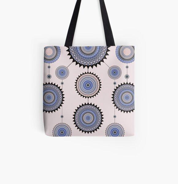 Blue Roundel Mandala  All Over Print Tote Bag