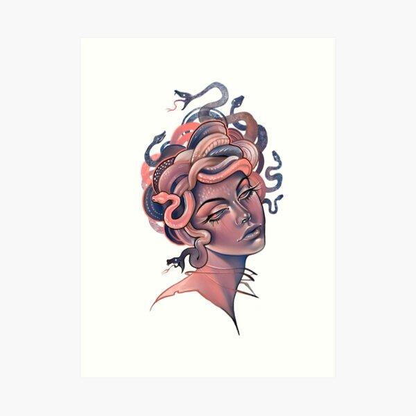 Coral and blue Medusa portrait Art Print