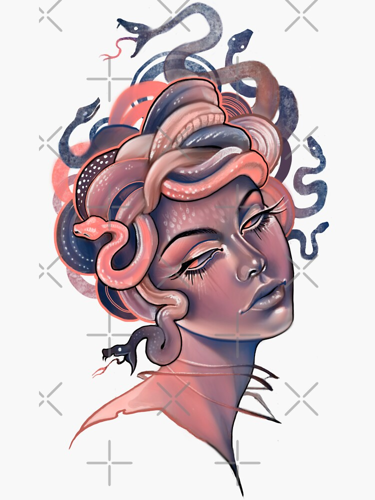 Coral and blue Medusa portrait by saraknid