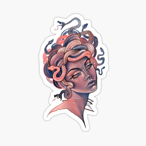 Coral and blue Medusa portrait Sticker