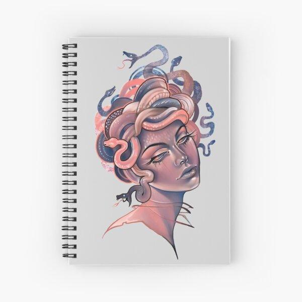 Coral and blue Medusa portrait Spiral Notebook