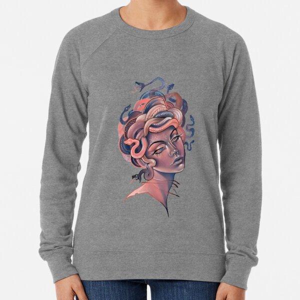 Korallen- und blaues Medusenporträt Leichter Pullover