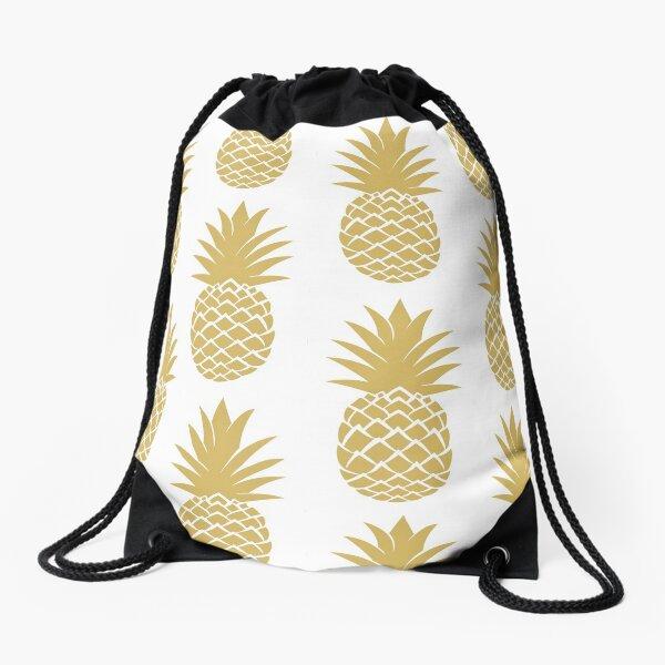 leo • theo | Golden pineapple Drawstring Bag