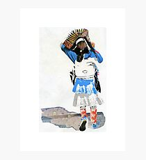 Girl with Accordian Sunshade Photographic Print