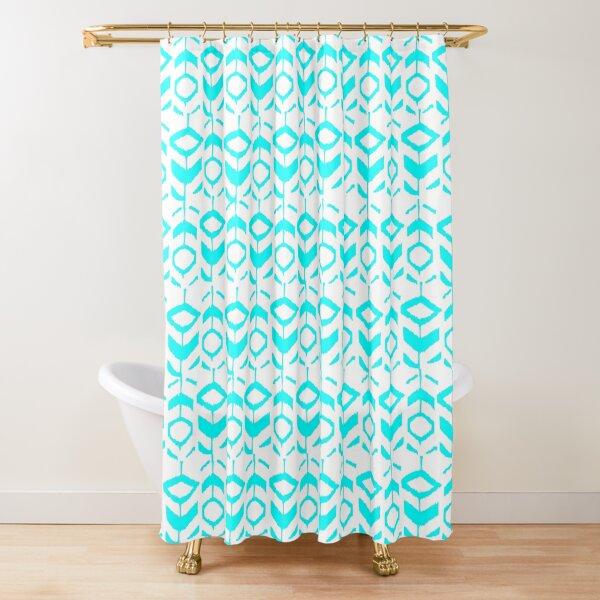 Abstract light blue flower pattern Shower Curtain