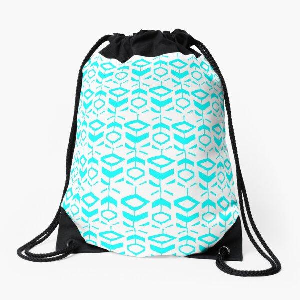 Abstract light blue flower pattern Drawstring Bag