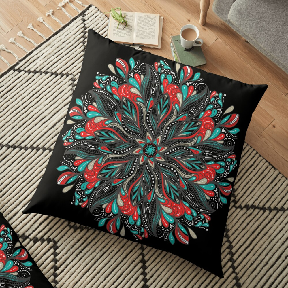 Mandala Flowers Cojines de suelo