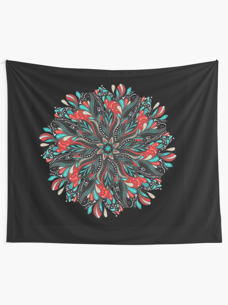 Vista alternativa de Tela decorativa Mandala Flowers