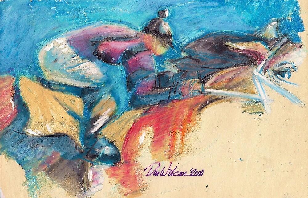 Jockey and racehorse by Dan Wilcox