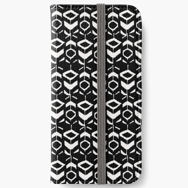 White flower pattern on a black background iPhone Wallet