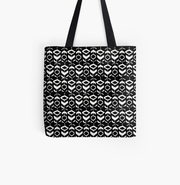 White flower pattern on a black background All Over Print Tote Bag