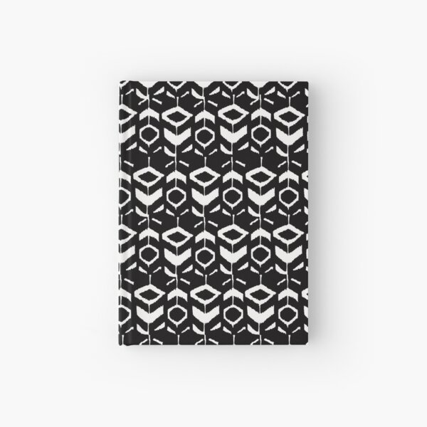 White flower pattern on a black background Hardcover Journal